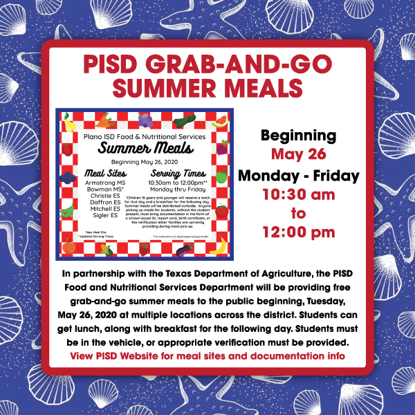 PISD Grab-and-Go SUMMER Meals for Families