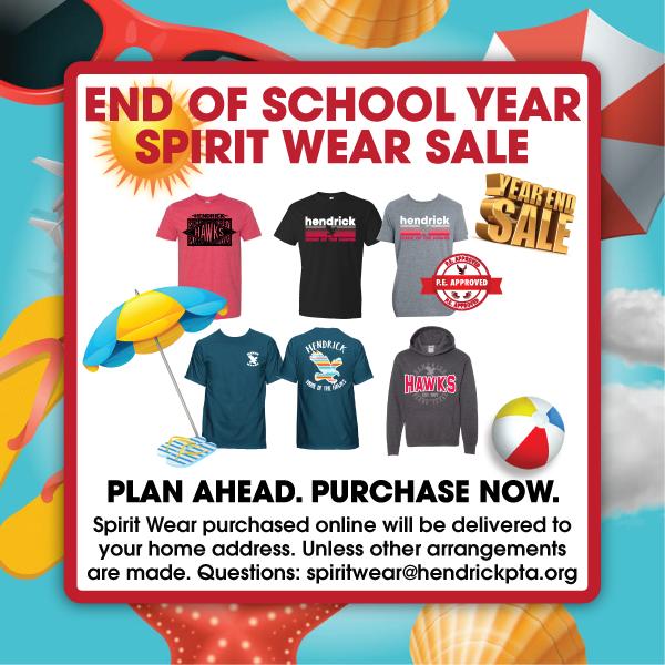 Spirit Wear End of Year Sale Information